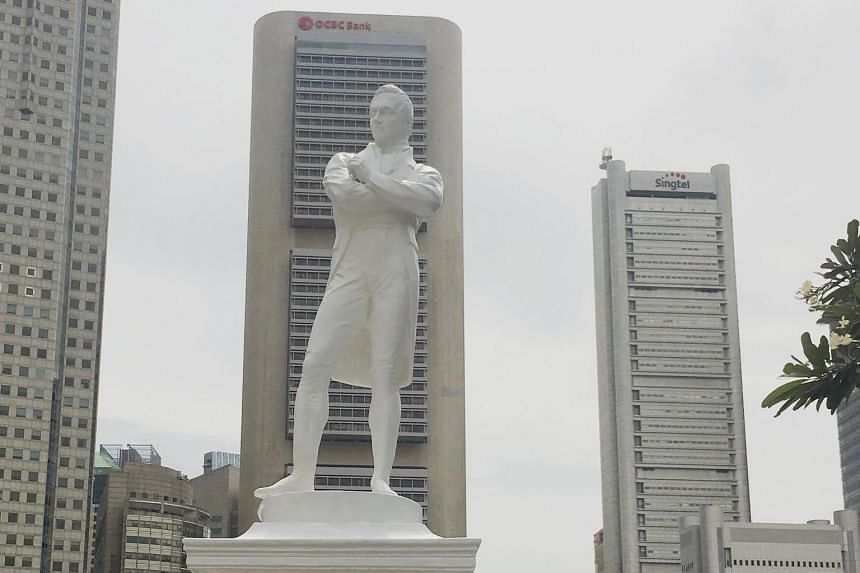 File photo of a statue of Sir Stamford Raffles Statue along the Singapore River.