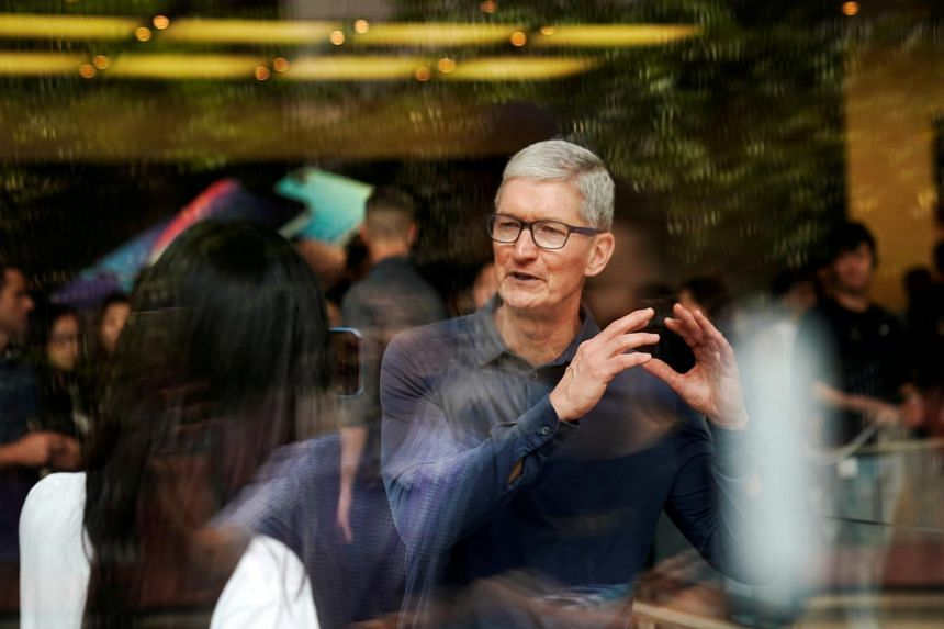 File photo of Apple CEO Tim Cook at an Apple store in Shanghai, China, on Oct 9, 2018.