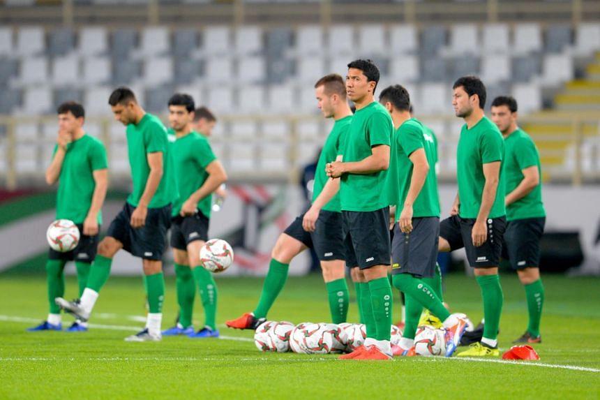 Players of Turkmenistan attend a training session in Abu Dhabi, United Arab Emirates on Jan 8, 2019.