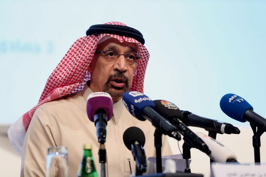 Saudi Energy Minister Khalid Al-Falih speaking at a news conference in Riyadh.