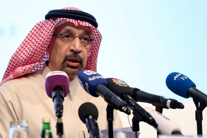 Saudi Energy Minister Khalid Al Falih speaking during a news conference in Riyadh
