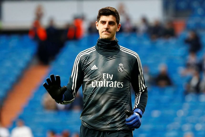 Real Madrid's Thibaut Courtois during a match warm up.