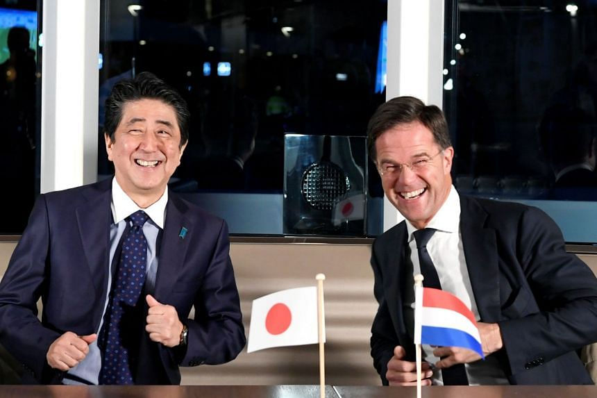 Mr Abe and Rutte meet in Rotterdam, the Netherlands, Jan 9, 2019.
