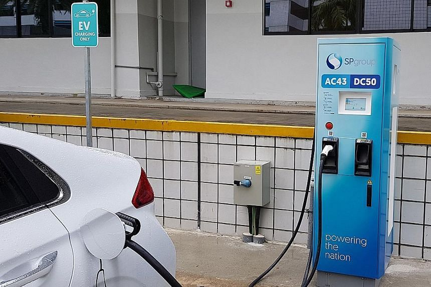SP Group's high-speed electric vehicle charging points, consisting of 19 43kilowatt (kw) alternate current chargers and 19 50kw direct current chargers, are able to charge a mid-sized electric car within an hour.