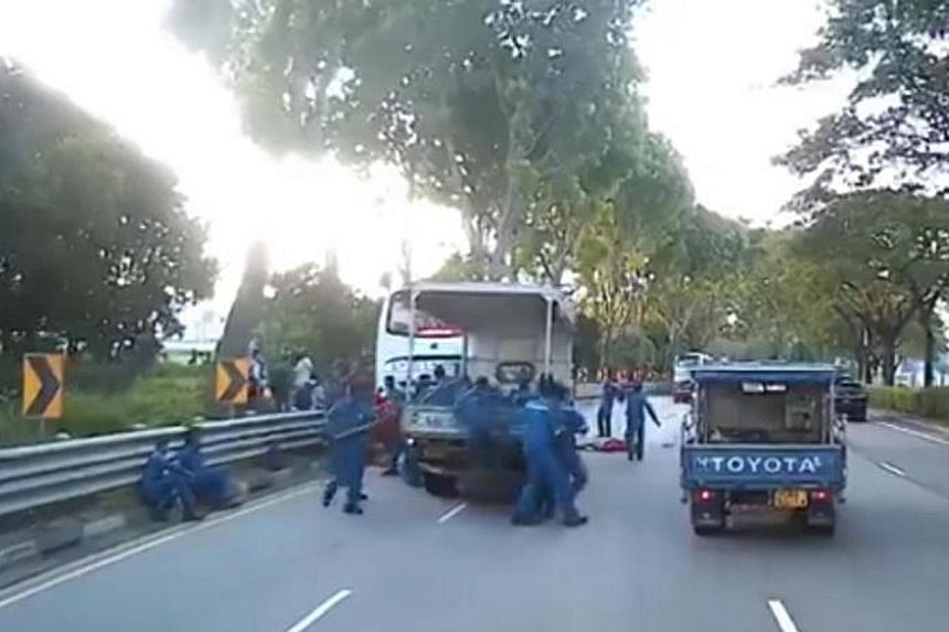 The Straits Times understands that most of those injured in the accident were in the lorry, which was carrying more than 20 passengers, including one who was trapped in the front passenger seat.