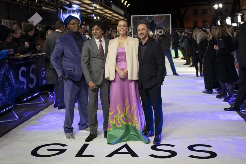 M. Night Shyamalan (second, left) at the London premiere of Glass, with cast members (from left) Samuel L Jackson, Sarah Paulson and James McAvoy.