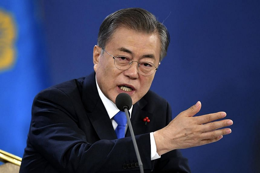 """South Korean President Moon Jae-in called for the Japanese government to foster a """"more humble attitude"""" towards wartime issues and to respect judicial decisions."""