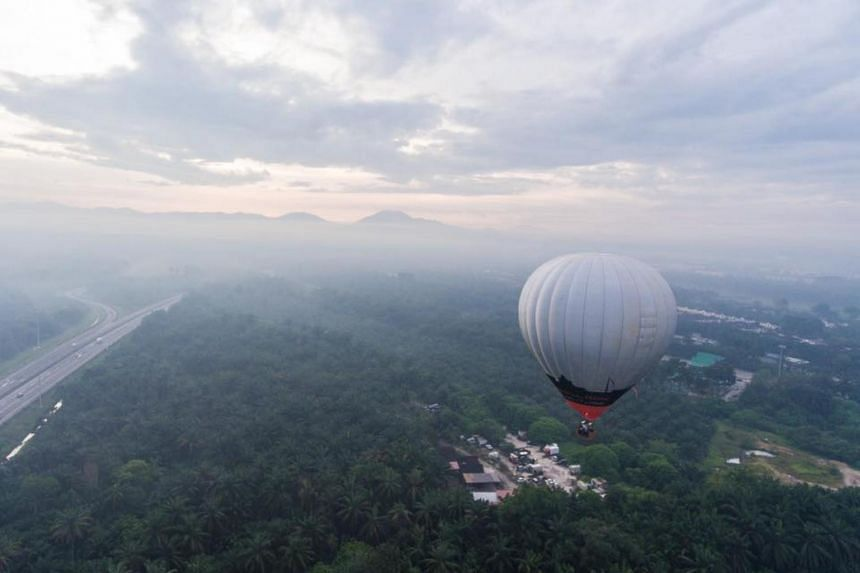 The hot air balloon was one of three that took off from Padang Jawi, Nibong Tebal, to promote the commercial balloon rides on offer to the public during the Penang Hot Air Balloon Fiesta.