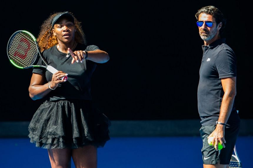 Serena Williams talking to her coach Patrick Mouratoglou during a practice session ahead of the Australian Open tennis tournament in Melbourne, on Jan 10, 2019.