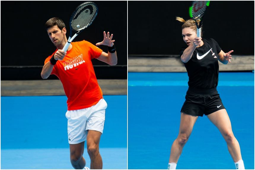 Novak Djokovic (left) and Simona Halep were named top seeds on Jan 10, 2019, for next week's Australian Open.