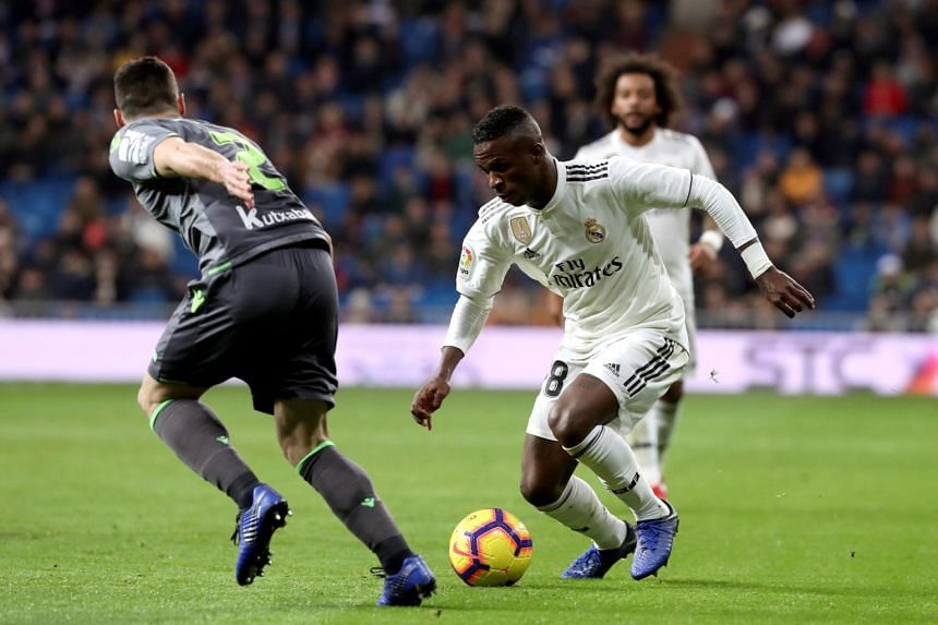 Real Madrid's forward Vinicius Jr (right) in action during the Spanish La Liga match between Real Madrid and Real Sociedad at Santiago Bernabeu stadium in Madrid, Spain, on Jan 6, 2019.