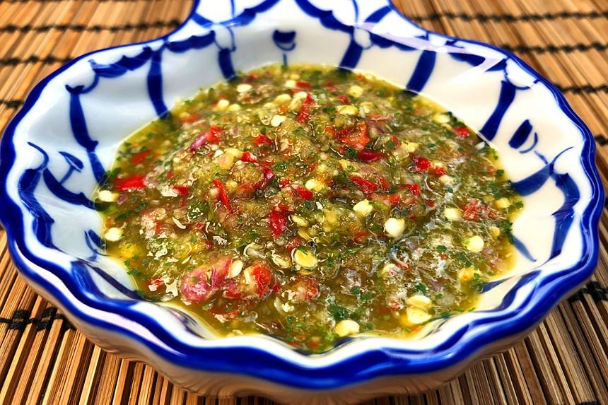 Nam jim is a spicy and zesty Thai-style dipping sauce that excites the palate.