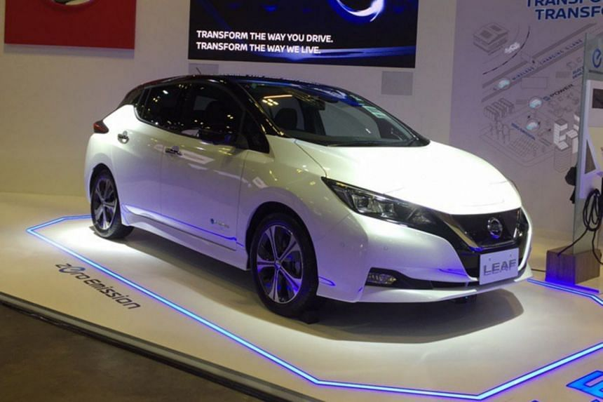 The battery-powered Nissan Leaf, launched at the 2019 Singapore Motorshow at the Suntec convention centre on Jan 10, 2019, will kick off the carmaker's ambitious programme.