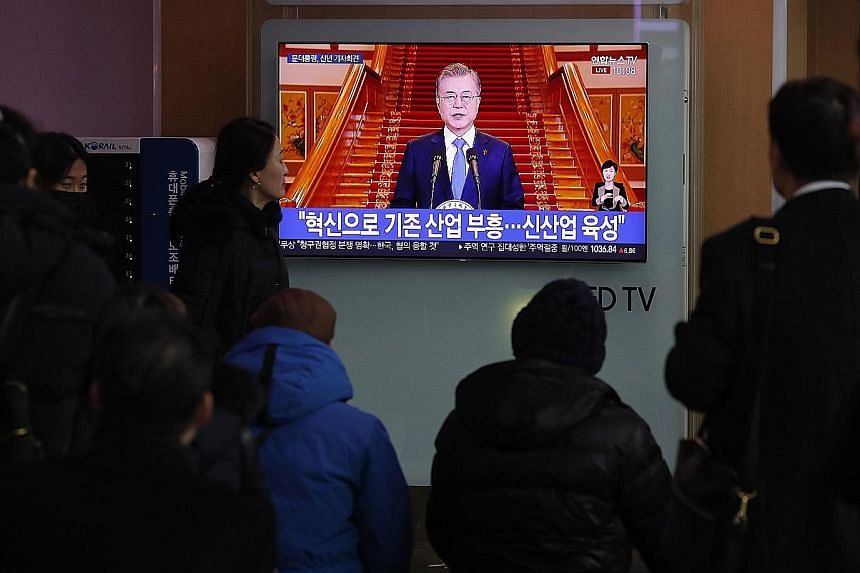 South Korean President Moon Jae-in during his New Year press conference yesterday. He admitted that the first US-North Korea summit on denuclearisation did not produce specific results, and that the second one must delve into details of follow-up mea