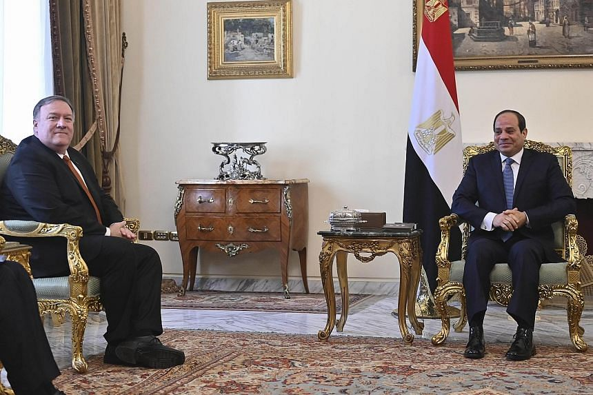 US Secretary of State Mike Pompeo (far left) meeting Egyptian President Abdel Fattah al-Sisi in Cairo yesterday. Mr Pompeo's Middle East tour is aimed at urging regional allies to continue to confront the threats posed by Iran and Islamic militants.