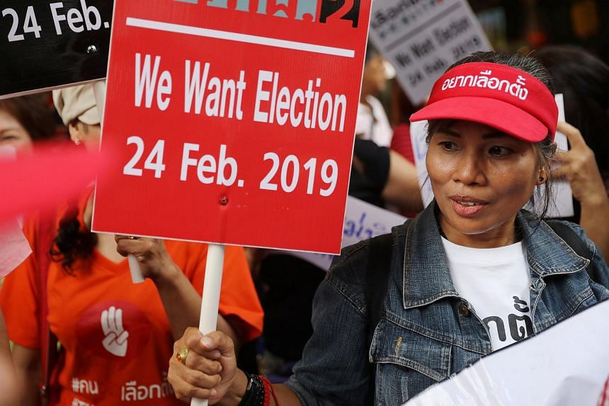 Activists and university students gather in Bangkok to demand an election in Thailand, on Jan 8, 2019.