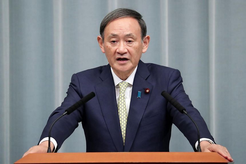 """Chief Cabinet Secretary Yoshihide Suga (above) said that remarks by South Korean President Moon Jae-in were """"extremely regrettable""""."""