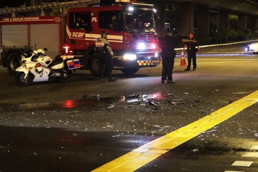 Glass shards and metal debris were scattered over an area at the road junction.