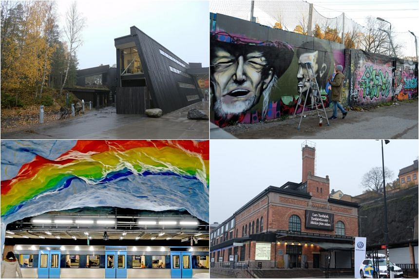 (Clockwise from top left) Stockholm's Artipelag cultural and events venue, the Snösätra Graffiti Wall of Fame, a rainbow mural at Stadion metro station and the Fotografiska centre for photography.