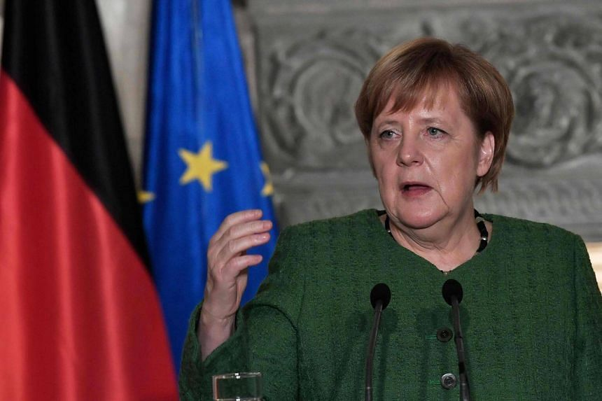 German Chancellor Angela Merkel (above) gestures during a joint press conference held with Greek prime minister Alexis Tsipras in Athens, on Jan 10, 2019.