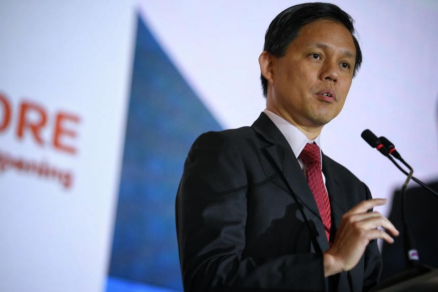 Trade and Industry Minister Chan Chun Sing speaking at the opening of a new plastic moulding centre built by American medical equipment manufacturer Becton Dickinson in Tuas on Jan 11, 2019.