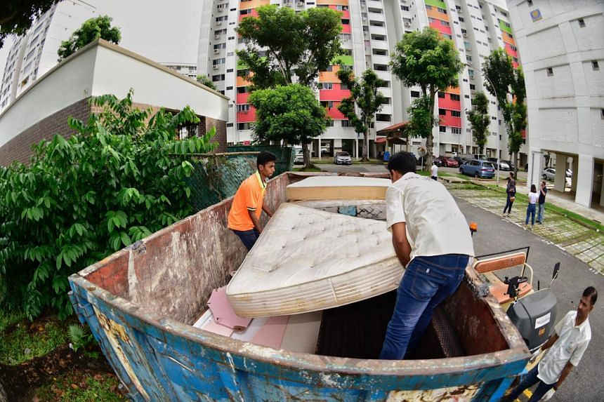 All 16 town councils in Singapore offer a free bulky item-removal service, which is generally limited to three items a month. Some town councils specify that additional items are charged at $5 each.