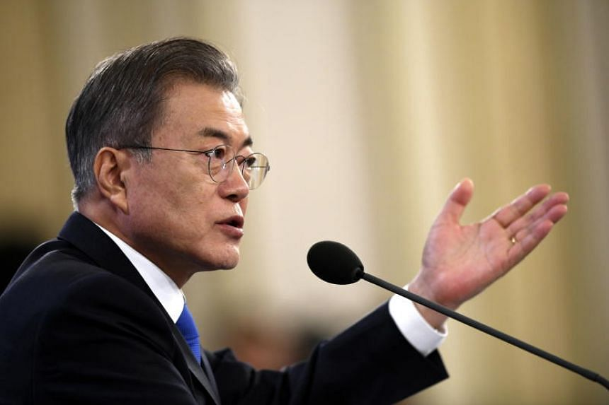 South Korean President Moon Jae-in holds his New Year press conference at the presidential Blue House in Seoul, South Korea on Jan 10, 2019.