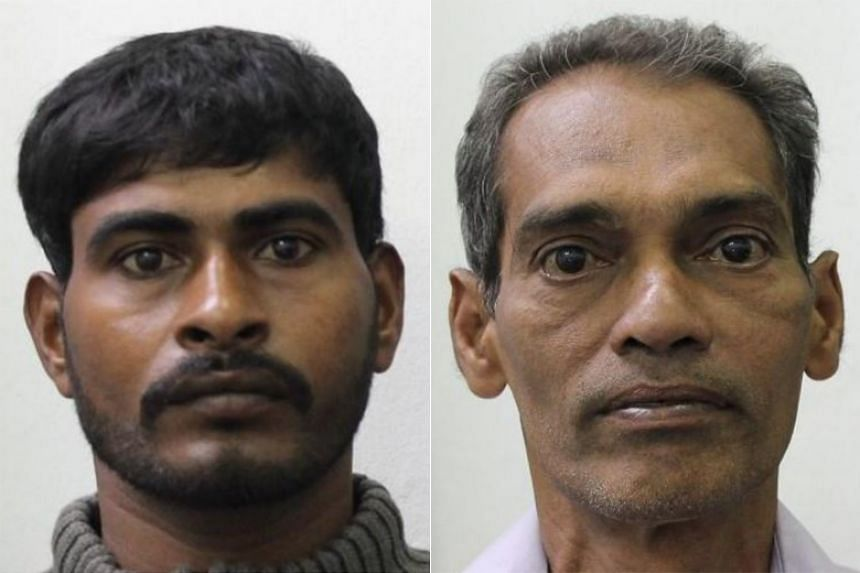 (From left) Pararasasingam Puveenthan and Marimuththu Subramaniam were nabbed by Immigration and Checkpoints Authority officers on Oct 28, 2018, when anomalies were detected in the Canadian passport produced by Pararasasingam.
