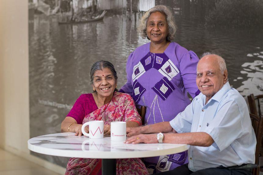 Madam Rukumani (standing) with the Padmanabhans. PHOTO: TED CHEN