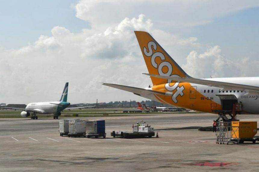 File photo of a Scoot aeroplane on the tarmac at Changi Airport Terminal 2.