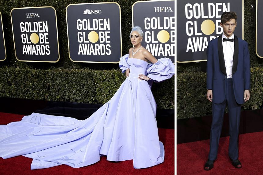 Singing the blues: (Above from left) singer-actress Lady Gaga in Valentino; and singer Troye Sivan in Calvin Klein.
