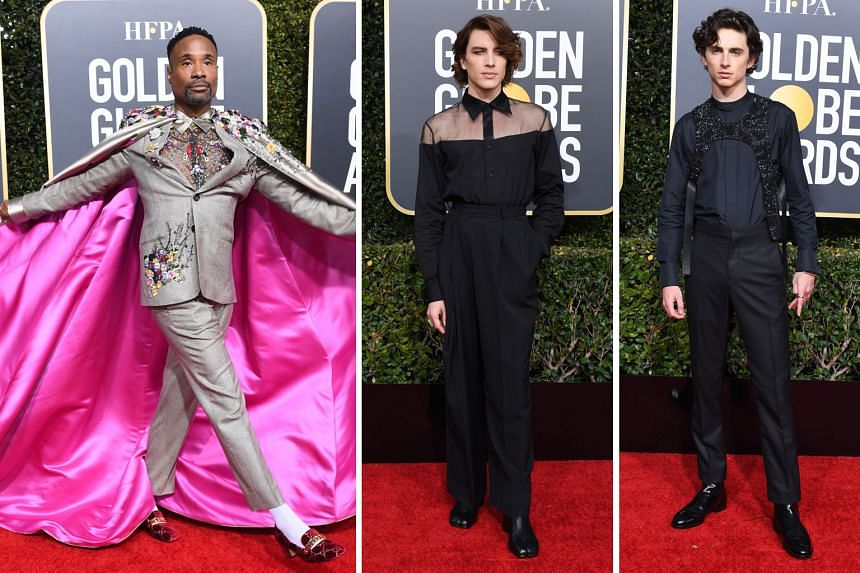 Fashionable men: (Above from left) actor Billy Porter in Randi Rahm; actor Cody Fern in Maison Margiela; and Timothee Chalamet in Louis Vuitton.