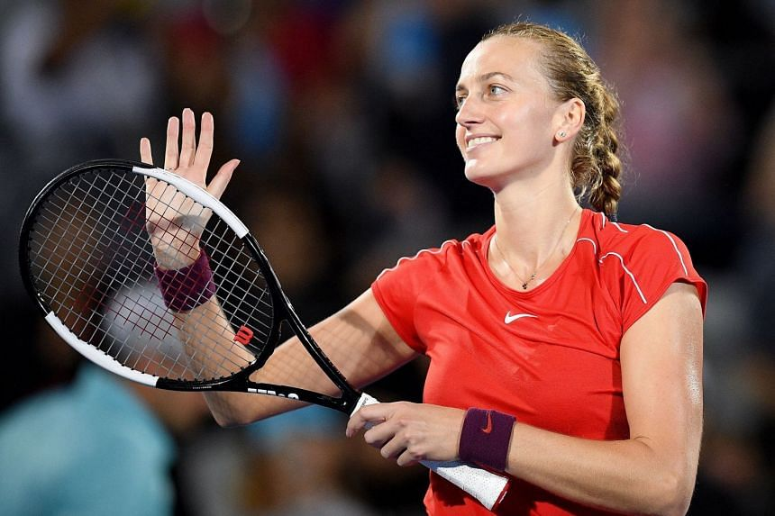 Petra Kvitova reacts after her semifinal match against Aliaksandra Sasnovich of Belarus.