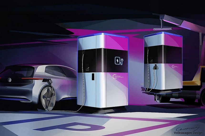 Volkswagen has offered a glimpse of its mobile quick-charging station (above), which can be set up anywhere - independent of power supply.