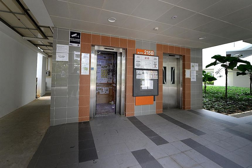 "A lift lobby at a housing block in Compassvale Drive. The proposed commitments by lift companies Chevalier and Fujitec Singapore will ensure that the companies sell parts to third-party lift contractors on a ""fair, reasonable and non-discriminatory b"