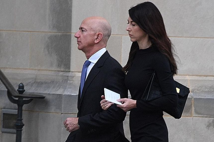 Divorce laws in Washington state, where Mr Jeff Bezos and his wife, MacKenzie, live, hold that property acquired during a marriage is generally divided equally.