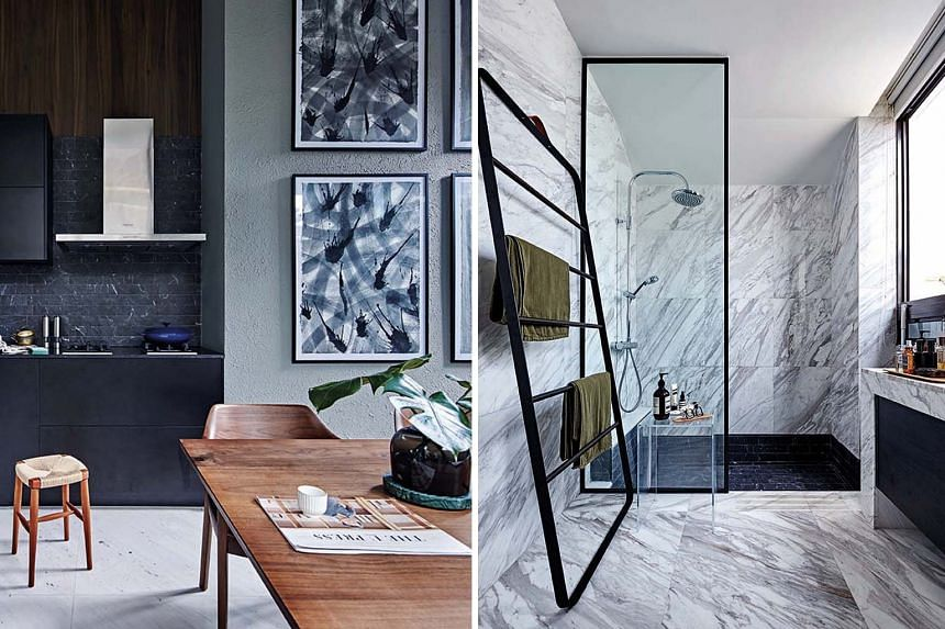The living room gets a cosy vibe from the dark, warm palette; (above, left) the kitchen stays clutter-free, thanks to long drawers that offer storage; and the bathroom's new black marble-like tiles in the shower area complement the original white mar