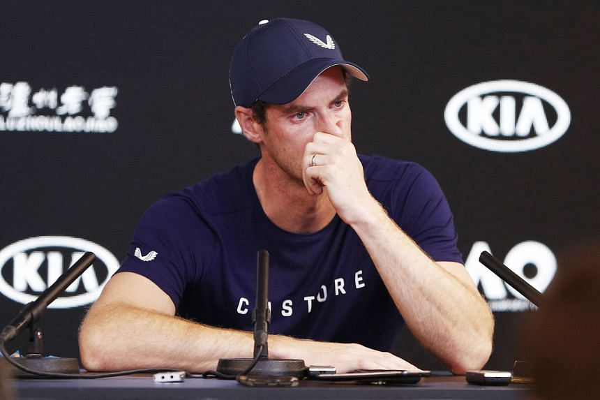 Former world No. 1 Andy Murray breaks down in tears during an emotional press conference yesterday in Melbourne. He said the pain from his hip was so severe he could not be sure of playing through it till Wimbledon in July, the scene of his greatest