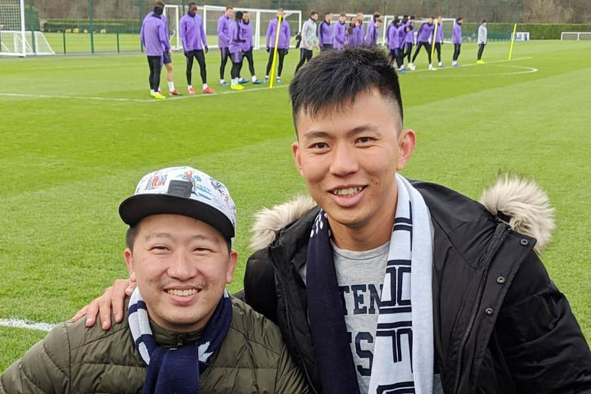 Ow Yong brothers Chaan Hoa (left) and Chaan Loung had the experience of a lifetime when they attended a Tottenham training session at the Premier League club's training facility at Enfield, north London, yesterday. The brothers managed to get up clos