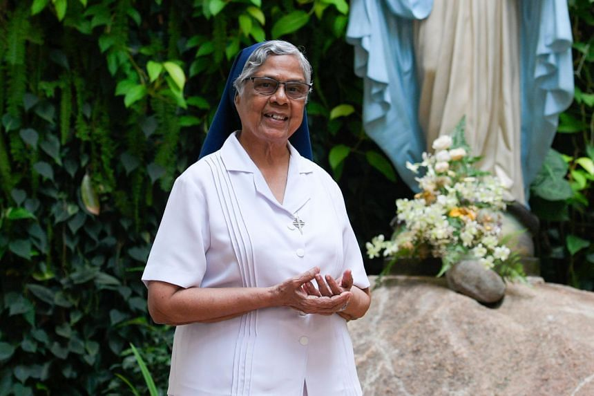 Sister Gerard Fernandez, 80, poses for a photograph after an interview on the upcoming film made by filmmaker Chai Yee Wei on the Toa Payoh ritual murders of 1981 and death row counselling.