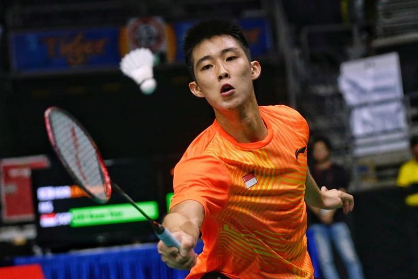 Loh Kean Yew in action during the men's singles round of 16 of the Singapore Badminton Open at the Singapore Indoor Stadium, on July 19, 2018.