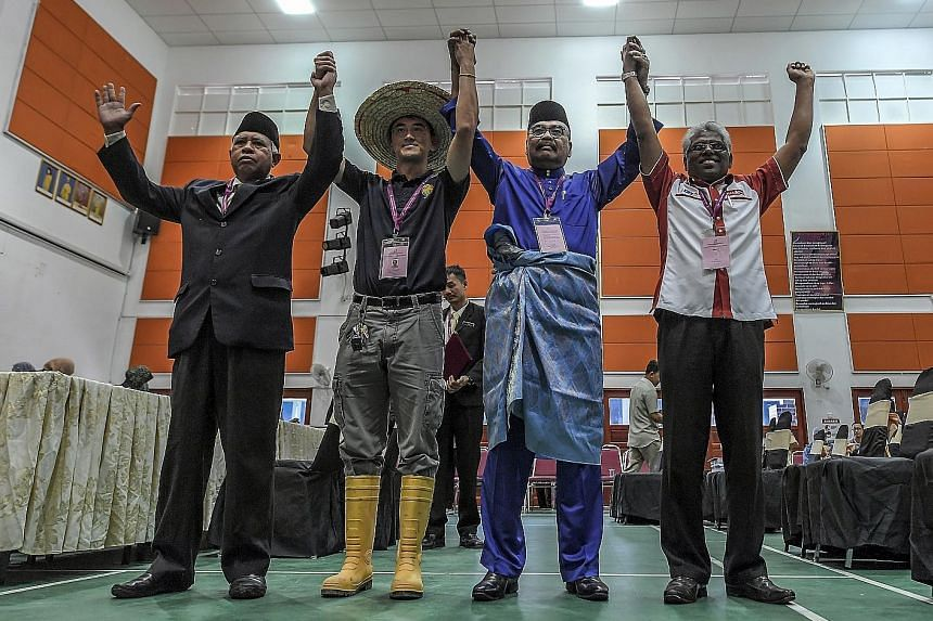 The four men contesting the Cameron Highlands by-election are (from far left) independents Sallehudin Ab Talib, Wong Seng Yee, BN's Ramli Mohd Noor and PH's Manogaran Marimuthu.