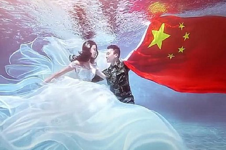 """From left: A soldier serenading the camera, complete with a Korean """"finger heart"""" gesture and superimposed emojis; a soldier's military-themed wedding photo shoot featuring a dramatic underwater scene; and soldiers performing a synchronised dance in"""