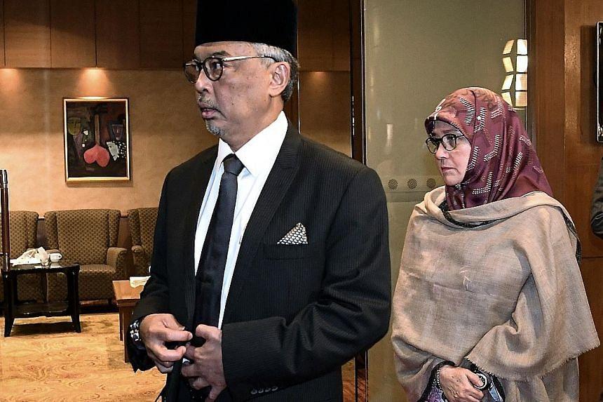 Pahang Regent Tengku Abdullah Sultan Ahmad Shah and his wife, Tunku Azizah Aminah Maimunah Iskandariah Sultan Iskandar, at the Pahang Royal Council Meeting in Kuala Lumpur on Friday.