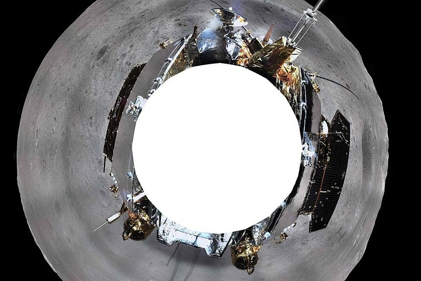 This photo shows the panoramic image made by China's Chang'e-4 lunar probe on the far side of the moon.