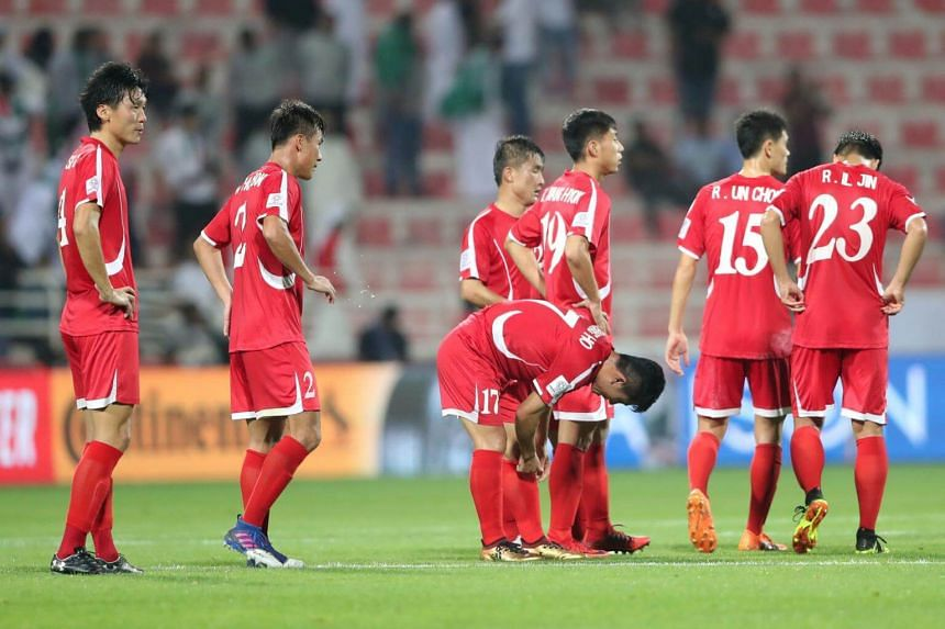 North Korea's players after their 2019 AFC Asian Cup group E preliminary round match against Saudi Arabia in Dubai, on Jan 8, 2019.