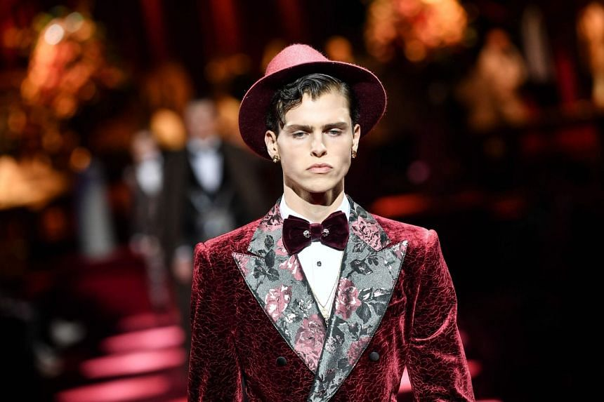 f5b7d98e10d1 A model presents a creation for fashion house Dolce & Gabbana during its  Men's Fall/