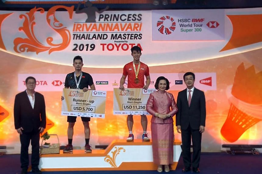 Loh Kean Yew beat two-time Olympic champion Lin Dan 21-19, 21-18 to claim his first Badminton World Federation World Tour crown.