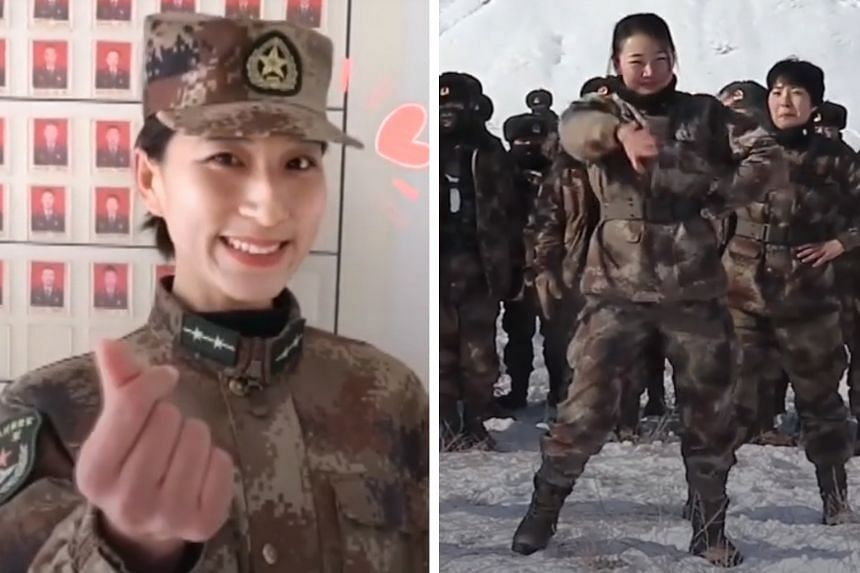 """A soldier (left) serenading the camera, complete with a Korean """"finger heart"""" gesture and superimposed emojis; and soldiers (right) performing a synchronised dance in -10 deg C weather. Light-hearted posts such as these are a hit on Chinese video-sha"""
