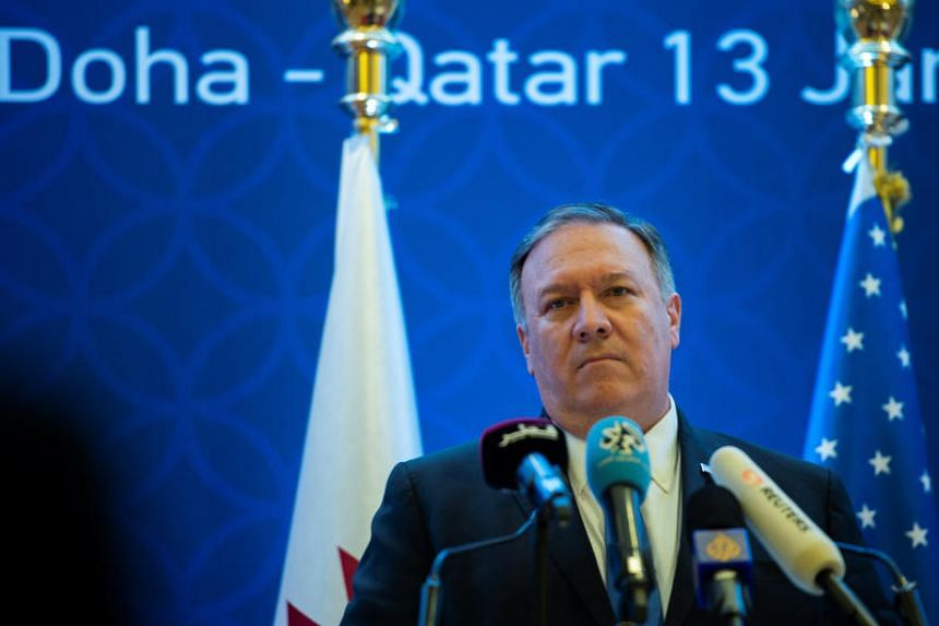 US Secretary of State Mike Pompeo speaking at a press conference in Doha on Jan 13, 2019.